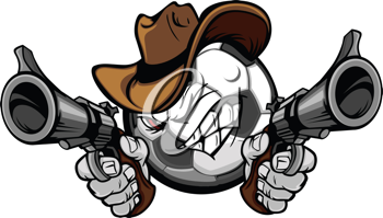 Royalty Free Clipart Image of a Soccer Cowboy