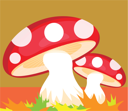 Royalty Free Clipart Image of a Mushroom Background