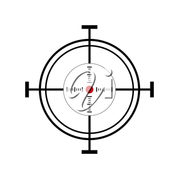 Illustration with shooting target icon on white background