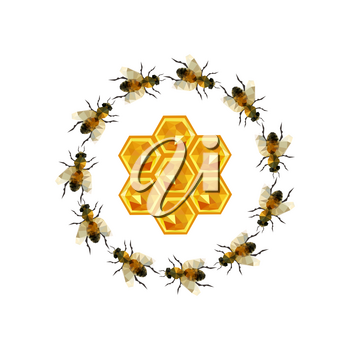 Modern origami illustration with a grup of bee and honeycomb isolated on white background