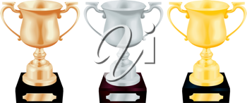 Royalty Free Clipart Image of Three Trophies