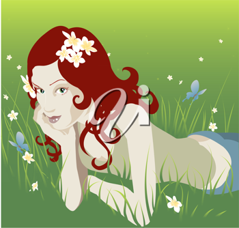 Royalty Free Clipart Image of a Woman Laying in the Grass