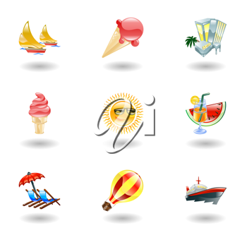 Royalty Free Clipart Image of Summer Icons