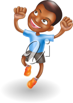 Royalty Free Clipart Image of a Boy Jumping for Joy