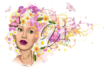 Royalty Free Clipart Image of a Woman With Hair Made of Flowers
