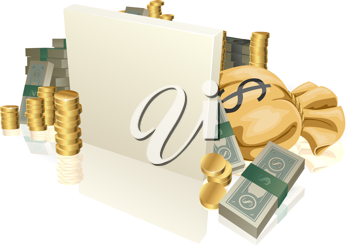 Royalty Free Clipart Image of a Sign in Front of Money