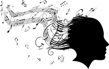 Royalty Free Clipart Image of a Woman With Musical Notes as Hair