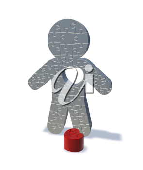 Royalty Free Clipart Image of a Jigsaw Man