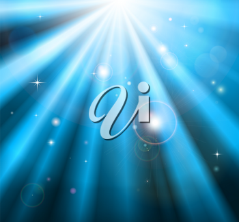 Bright blue light rays shining down with lens flare background