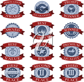 A series of red and blue victory reward shields like those awarded for different review or test categories or evaluations.