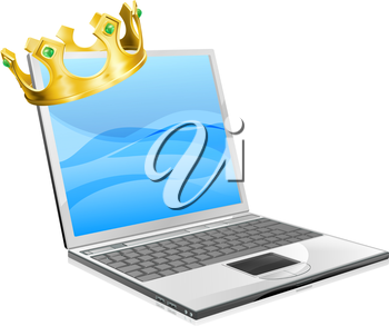 Laptop king concept illustration, a laptop computer wearing a crown