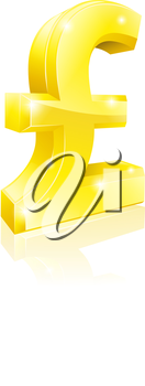 Illustration of a big shiny gold Pound Sterling currency sign
