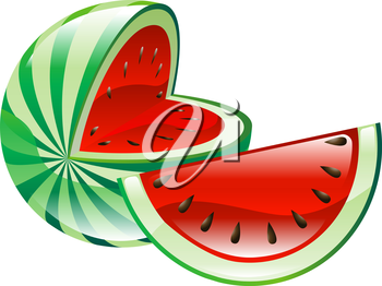 Royalty Free Clipart Image of a Shiny Watermelon