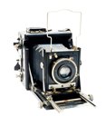 Black color old camera isolated over white