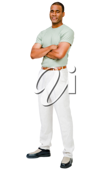 Confident mid adult man posing and smiling isolated over white