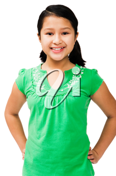 Happy girl posing and standing isolated over white
