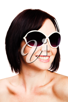 Young woman wearing sunglasses isolated over white