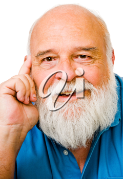 Smiling man day dreaming isolated over white