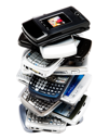 Mobile phones in a stack isolated over white