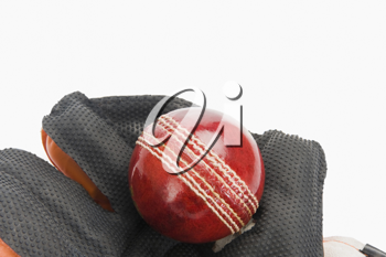 Close-up of a cricket ball on a wicket keeping glove