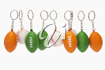 Close-up of assorted balls shaped key rings