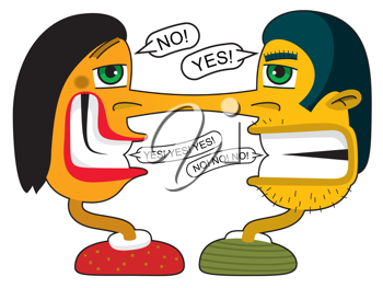 Royalty Free Clipart Image of a Couple Arguing