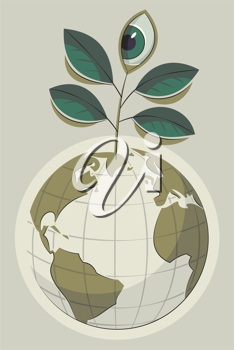 Royalty Free Clipart Image of a Leafs Sprouting From Earth