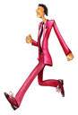 Royalty Free Clipart Image of a Thin Man Walking