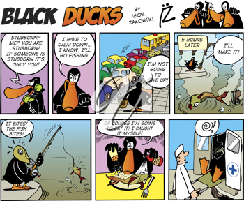 Royalty Free Clipart Image of a Black Ducks Comic Strip Where He Goes Fishing