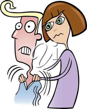 Royalty Free Clipart Image of a Woman Angrily Massaging a Man's Shoulders