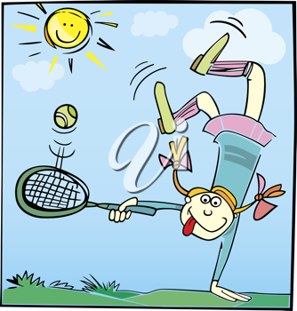 Royalty Free Clipart Image of a Little Girl Playing Tennis