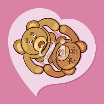 Royalty Free Clipart Image of Two Bears in a Heart