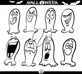 Cartoon Illustration of Halloween Themes, Ghosts Emotions Funny Set for Coloring Book or Page