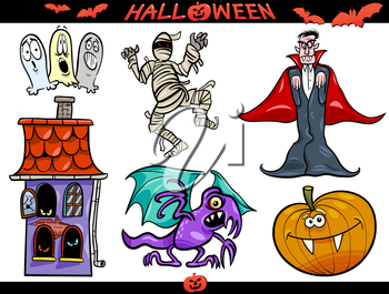 Cartoon Illustration of Halloween Holiday Themes, Vampire or Count Dracula, Mummy, Haunted House, Basilisk or Monster, Pumpkin and Ghosts