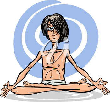 Cartoon Illustration of Young Man Practicing Yoga Meditation in Lotus Position or Asana
