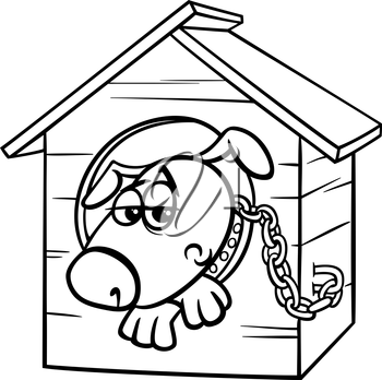 Black and White Cartoon Illustration of Poor Sad Dog in the Kennel for Coloring Book