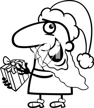 Black and White Cartoon Illustration of Funny Santa Claus Character with Christmas Present for Coloring Book