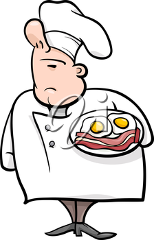 Cartoon Illustration of Funny English Chef or Cook with Bacon and Eggs