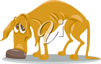 Cartoon Illustration of Sad Homeless Dog Animal