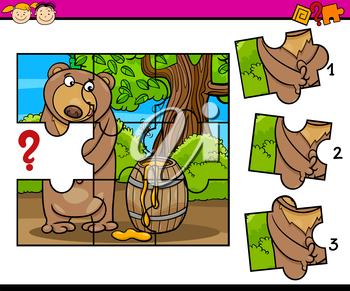 Cartoon Illustration of Jigsaw Puzzle Educational Task for Preschool Children with Bear Animal Character
