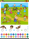 Cartoon Illustration of Educational Mathematical Counting and Addition Activity Task for Children with Kids and Dogs
