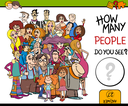 Cartoon Illustration of Educational Counting Task for Children with People Characters Group