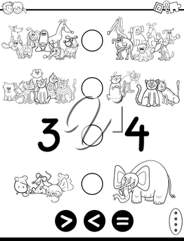 Black and White Cartoon Illustration of Educational Mathematical Activity Game of Greater Than, Less Than or Equal to for Children with Animal and Pet Characters Coloring Page