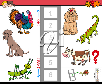 Cartoon Illustration of Educational Game of Finding the Biggest and the Smallest Animal Characters for Preschool Children