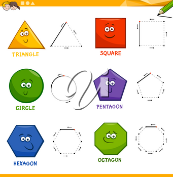 Educational Cartoon Illustration of Basic Geometric Shapes Drawing for Kids