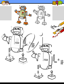 Cartoon Illustration of Drawing and Coloring Educational Activity for Children with Funny Robot Character