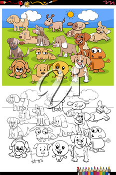 Cartoon Illustration of Cute Puppies Animal Characters Group Coloring Book Page