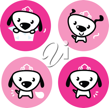 Royalty Free Clipart Image of Dogs in Circles