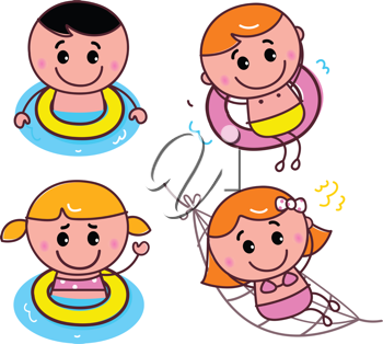 Royalty Free Clipart Image of Children Swimming and Playing
