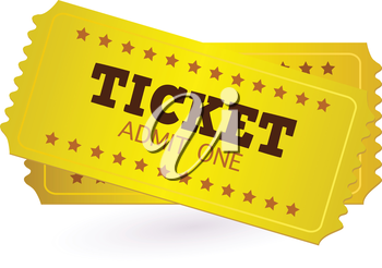Gold Ticket or Coupon isolated on white. Vector Illustration